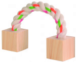 Playing rope with wooden blocks